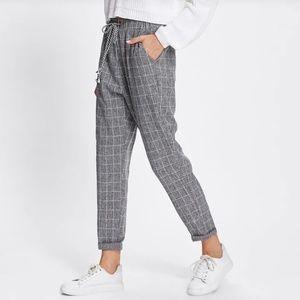 Rolled Hem Drawstring Plaid Pants